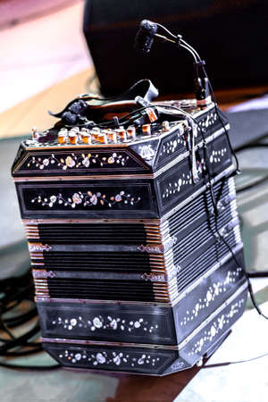 bandoneon: typical musical instrument for playing tango music in Argentine milonga