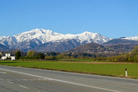 mountain range of Monte Rosa, Alps, seen from Po Valley, Piedmont, Italy