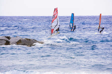 windsurfer that drives its windsurfing speed through the sparkling waves of the Ligurian Sea, in Mediterranean Sea