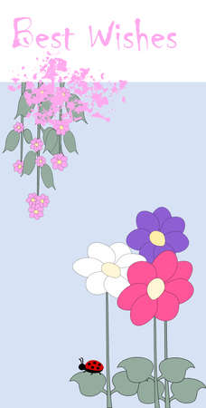 best wishes - card with flower and ladybird Illustration