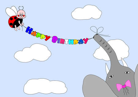 happy birthday - ladybird and elephant congratulate Vector