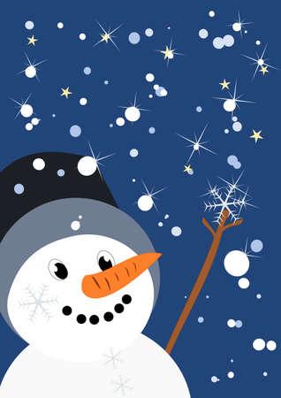 l'homme peu de neige attrape un flocon de neige