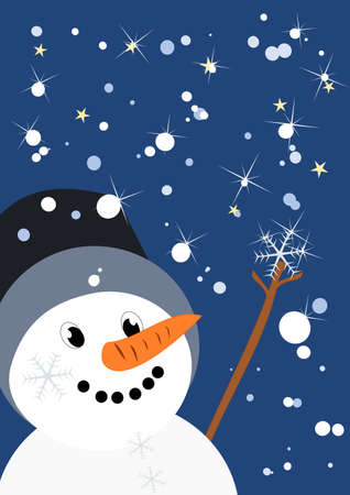 little snow man catches a snowflake  Vector