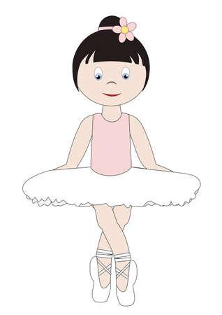 ballet dancer: Little ballerina with flower in hair Illustration