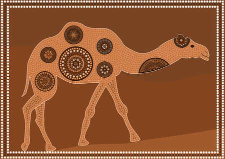 aborigen: Dreamtime - dromedario - punto aborígenes estilo de la pintura