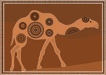 Dreamtime - dromedary - aboriginal dot painting style Stock Vector - 10836821