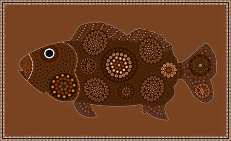 a freshwater fish: Dreamtime - fish - dot painting style