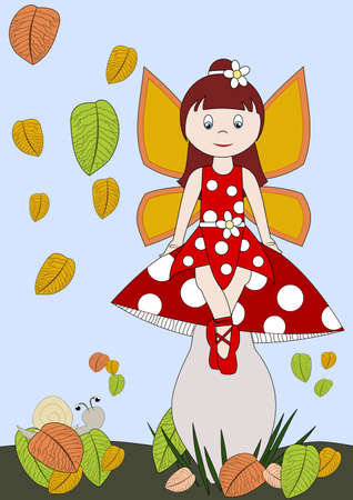 a fly agaric: Little fairy in red dress on a fly agaric