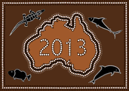 2013 Happy New Year Australia - dot paintig style Vector