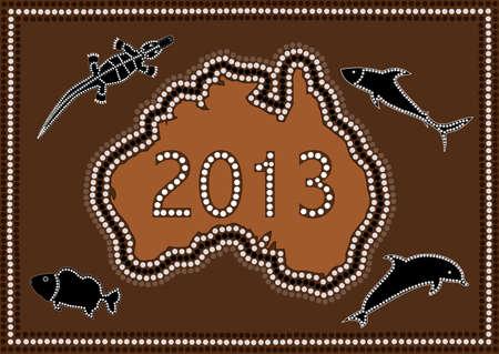 2013 Happy New Year Australia - dot paintig style