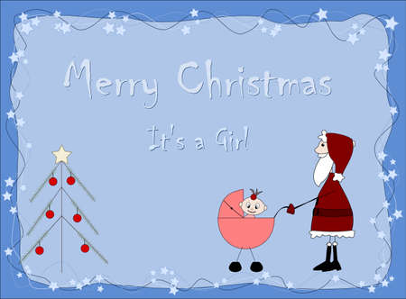 Merry Christmas - It`s a girl - Santa claus Stock Vector - 11664412