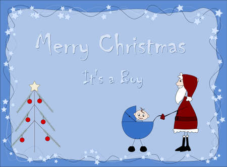 Merry Christmas - It`s a boy - Santa Claus Vector