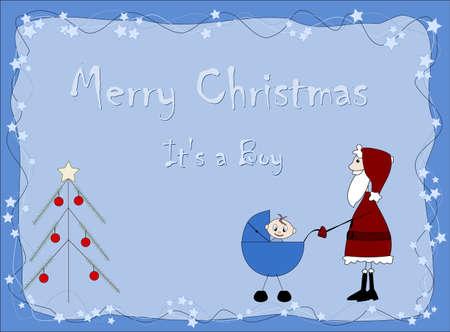 Merry Christmas - It`s a boy - Santa Claus Vector