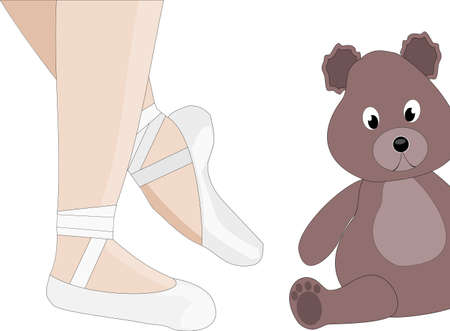 ballerina shoes: Ballet and teddy - ballerina and here teddy Illustration
