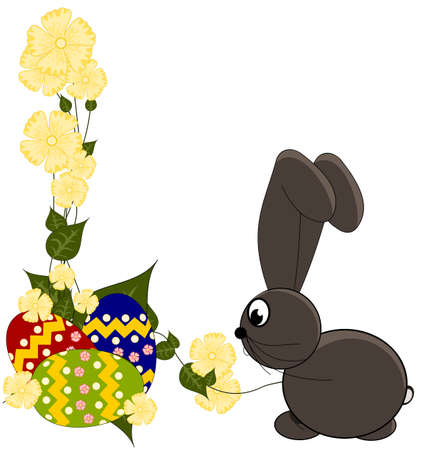Happy Easter card - with bunny and eggs Vector