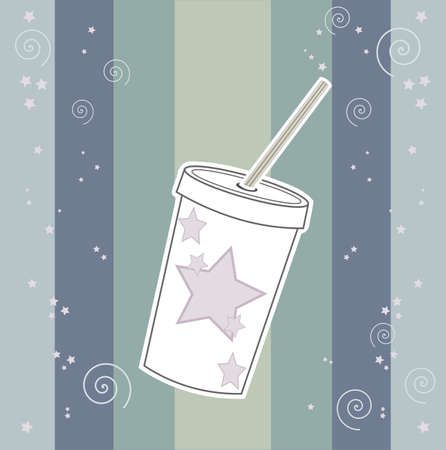 Cup of cola - retro background with stripes