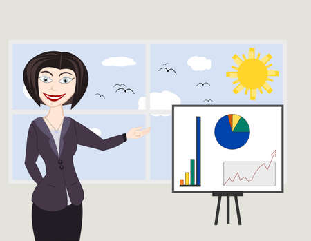 company growth: Business woman showing a graph of successful finance or company growth Illustration