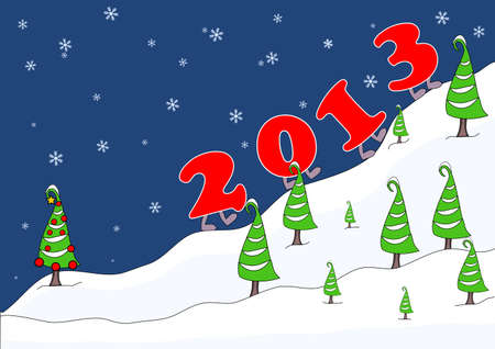 2012 - New Year, numbers climb up the mountain  Vector