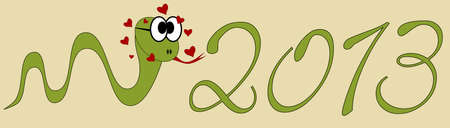 2013 Happy New Year - snake in love Vector