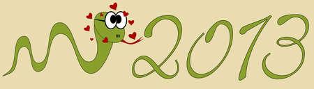2013 Happy New Year - snake in love Stock Vector - 12798786