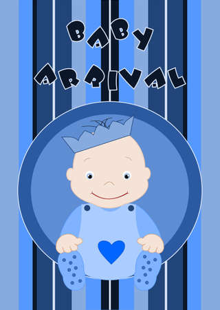 Baby arrival - cute little baby boy in blue Stock Vector - 12798798