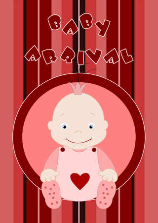 Baby arrival - cute baby girl in pink Vector