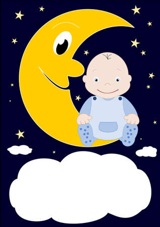A little baby sitting on the moon Stock Vector - 12798790
