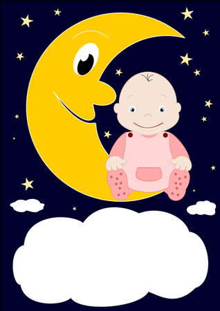 A little baby sitting on the moon Stock Vector - 12798789