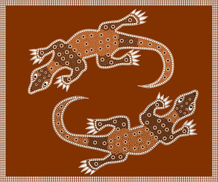 A illustration based on aboriginal style of dot painting depicting waran  Illustration
