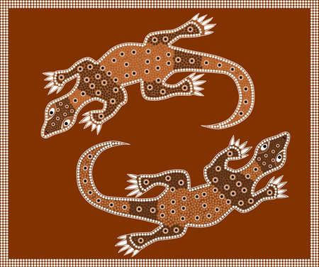 aboriginal: Una ilustraci�n basada en el estilo aborigen de la pintura de puntos que representa Waran Vectores