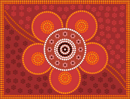 A illustration based on aboriginal style of dot painting depicting flower  Illusztráció