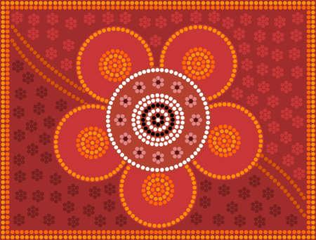 australian outback: Una ilustraci�n basada en el estilo aborigen de la pintura de puntos que representa la flor Vectores