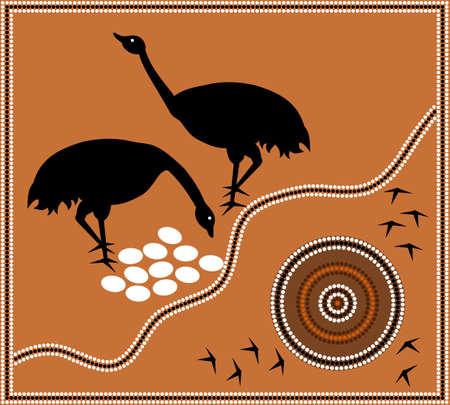 A illustration based on aboriginal style of dot painting depicting emu  Illustration