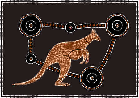 A vector illustration based on aboriginal style of dot painting depicting Kangaroo  Vector