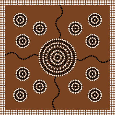 outback australia: A illustration based on aboriginal style of dot painting depicting circle   Illustration