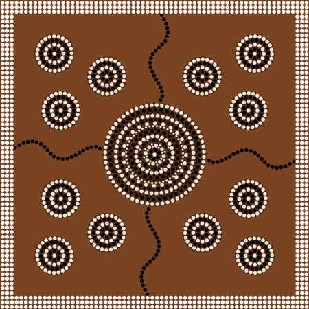 aboriginal: Una ilustraci�n basada en el estilo aborigen de la pintura de puntos que representa el c�rculo
