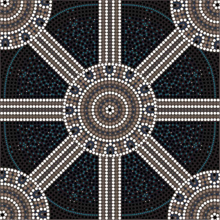 australian outback: A illustration based on aboriginal style of dot painting depicting circle  Illustration