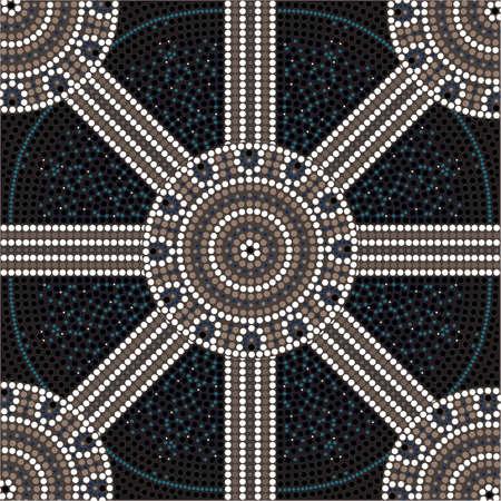 aborigen: Una ilustración basada en el estilo aborigen de la pintura de puntos que representa el círculo