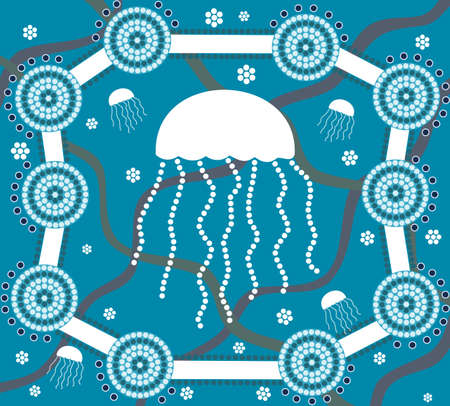 Jellyfish in dot painting style on blue background Vector