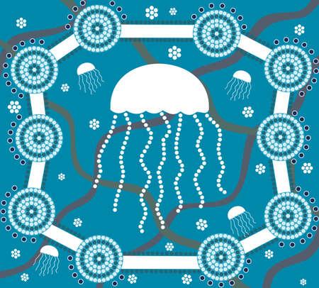aborigen: Medusas en el estilo de la pintura de puntos sobre fondo azul