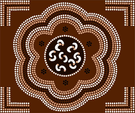 A illustration based on aboriginal style of dot painting depicting grubs  Illustration