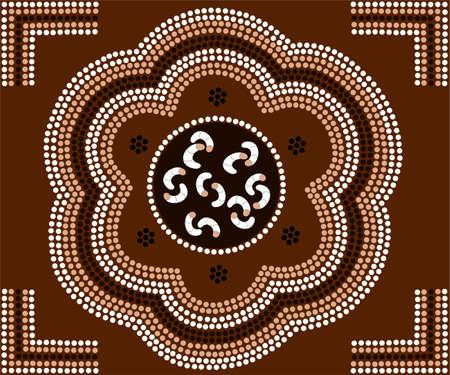 aborigen: Una ilustración basada en el estilo aborigen de la pintura de puntos que representa a los gusanos Vectores