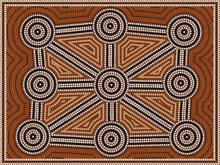 パターンを描いたドット絵のアボリジニのスタイルに基づく図