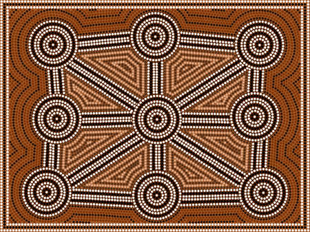 outback: A illustration based on aboriginal style of dot painting depicting pattern Illustration