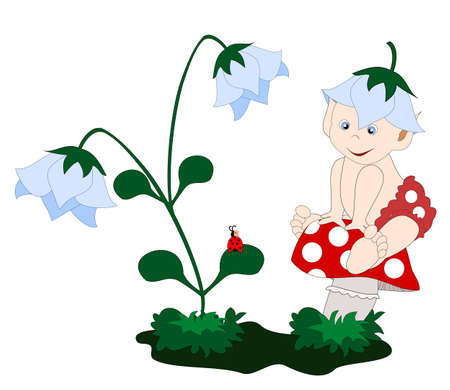 a little elf on a toadstool Vector