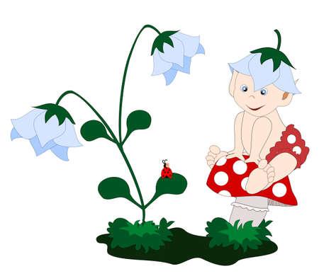 champignon magique: un petit elfe sur un champignon Illustration