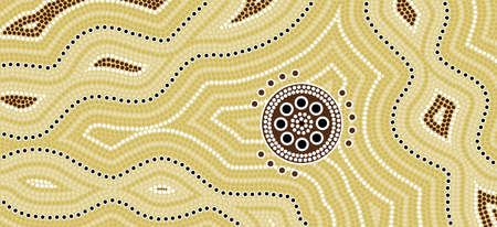 A illustration based on aboriginal style of dot painting depicting desert