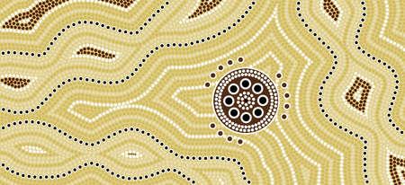 aborigen: Una ilustración basada en el estilo aborigen de la pintura de puntos que representa el desierto