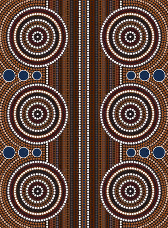 A illustration based on aboriginal style of dot painting depicting street Illustration