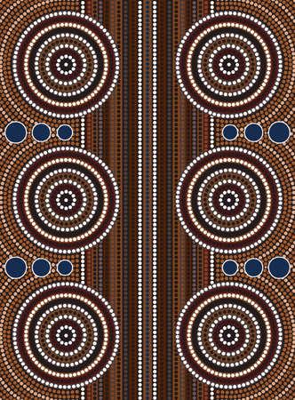 aborigen: Una ilustraci�n basada en el estilo aborigen de la pintura de puntos que representa la calle